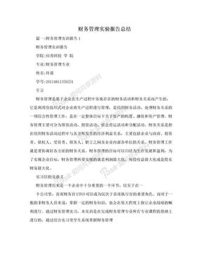 财务管理实验报告总结.doc