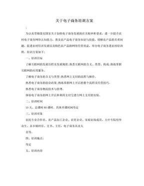 关于电子商务培训方案.doc