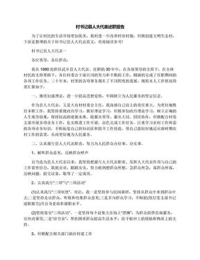 村书记县人大代表述职报告.docx