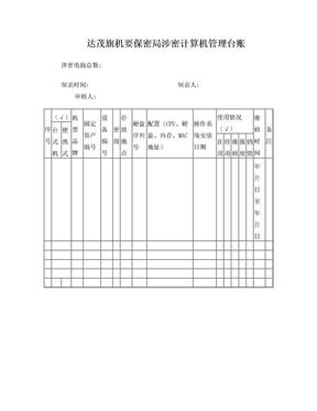 涉密计算机管理台账.doc