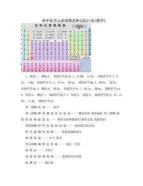 初中化学元素周期表和记忆口诀[精华].doc