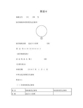 医疗机构申请变更登记注册书范本.doc