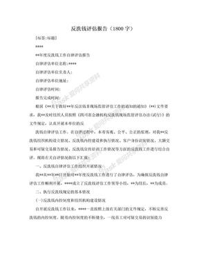 反洗钱评估报告(1800字).doc