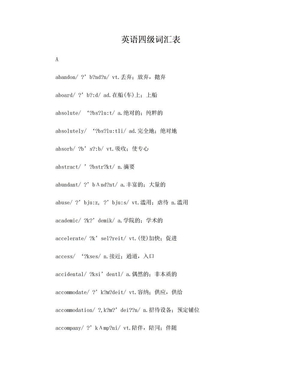 英语四级词汇表带音标.doc