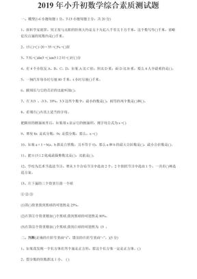 2019年小升初数学综合素质测试题.doc