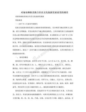 对禄劝彝族苗族自治县文化旅游发展前景的调查.doc