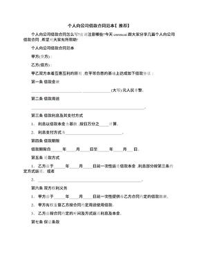 个人向公司借款合同范本【推荐】.docx