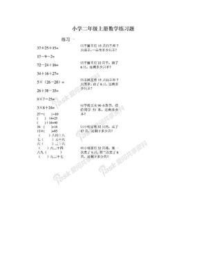 小学二年级上册数学练习题.doc
