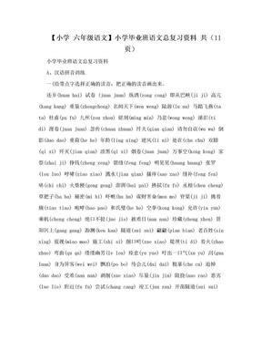 【小学 六年级语文】小学毕业班语文总复习资料 共(11页).doc