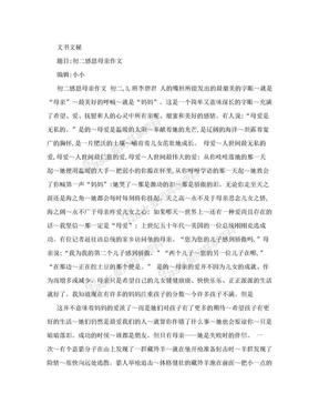 【精品推荐】初二感恩母亲作文_19749.doc