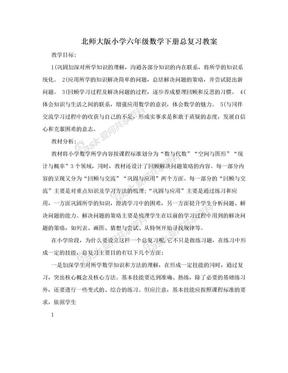 北师大版小学六年级数学下册总复习教案.doc