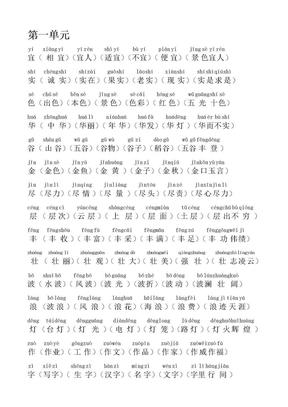 2019-2020年人教版语文二年级上册生字表二组词(1-4单元)-注音.doc