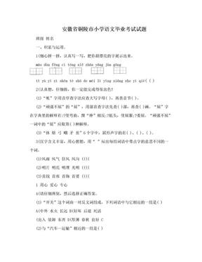 安徽省铜陵市小学语文毕业考试试题.doc
