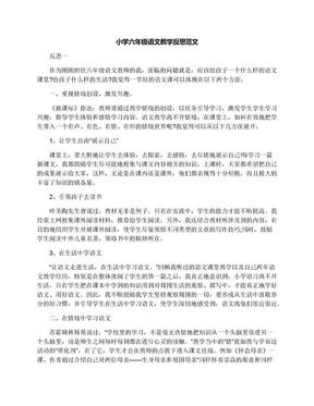 小学六年级语文教学反思范文.docx