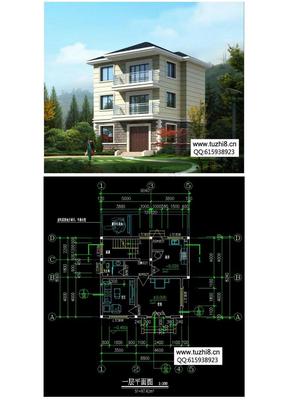 几套农村自建三层房屋设计图纸及效果图【推荐】.doc