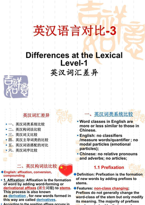 英汉语言对比-3-Differences at the Lexical Level-1.ppt
