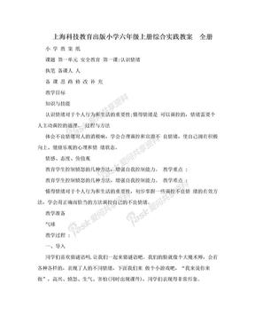 上海科技教育出版小学六年级上册综合实践教案 全册.doc