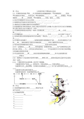 初二生物上学期知识总结.doc