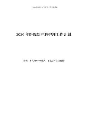 2020年医院妇产科护理工作计划.doc