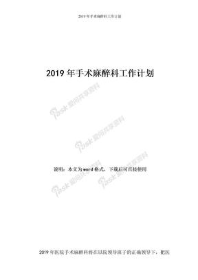 2019年手术麻醉科工作计划.doc