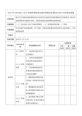 2019年ISO14001-2015环境管理体系内部审核检查表【ISO14001内审检查表】.docx