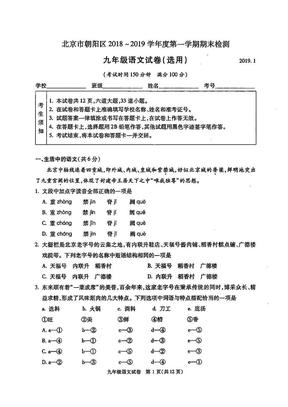 朝阳区2018-2019学年初三(上)学期期末语文试卷.pdf