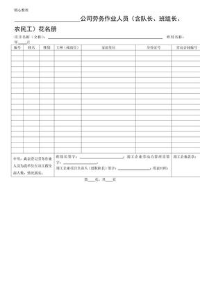 劳务花名册工资表格模板周报等表格模板格  附件 4-7.doc.doc