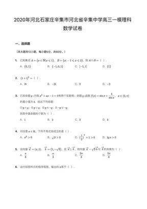 2020年河北石家庄辛集市河北省辛集中学高三一模理科数学试卷.pdf