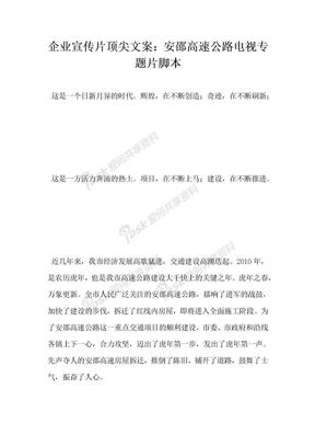 企业宣传片顶尖文案安邵高速公路电视专题片脚本.docx