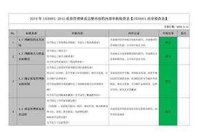 2019年ISO9001-2015质量管理体系完整内容的内部审核检查表【ISO9001内审检查表】.docx
