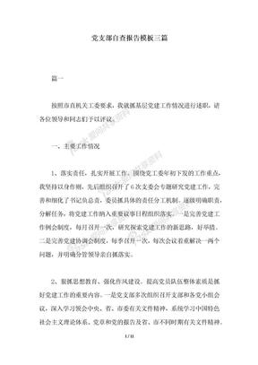 2018年党支部自查报告模板三篇.docx