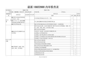 最新ISO22000内审检查表