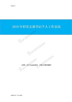 2019年村党支部书记个人工作总结.doc