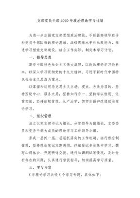支部党员干部2020年政治理论学习计划.docx