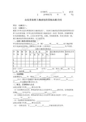 2019年新山东省农村土地承包经营权出租合同.docx
