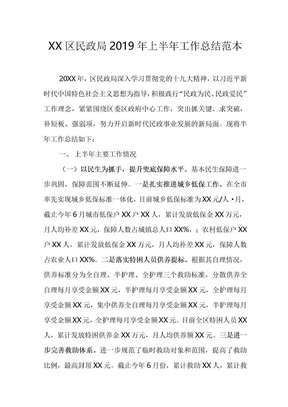 XX区民政局2019年上半年工作总结范本.doc