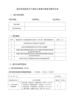 09南昌市科技重大产业化专项入闱项目现场考察评分表doc-.doc