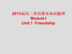2013届高三英语课本知识梳理课件:Unit1 Friendship(新人教版必修1).ppt