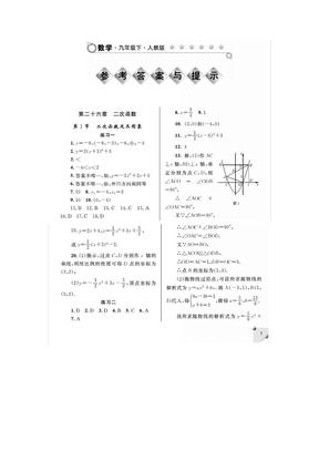 九年级下册数学练习册答案人教版.docx