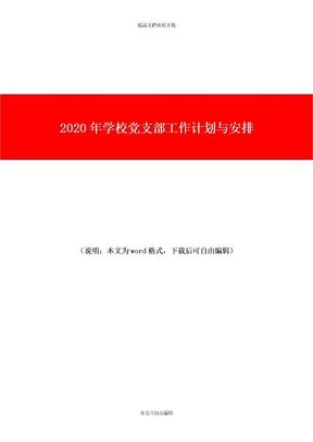 2020年学校党支部工作计划与安排.doc