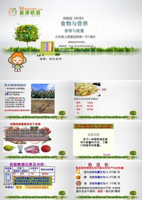 浙教版科学九年级上第四章4.1.1食物与营养1--能量与食物.ppt