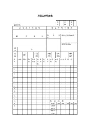 产品生产明细表(表格模板、DOC格式).doc