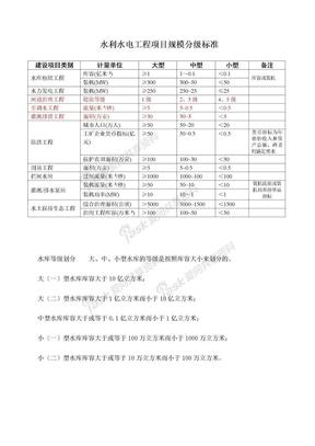 水利水电工程项目规模分级标准.doc
