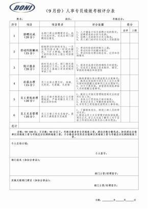 人事专员绩效考核表1.doc