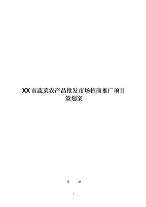 市蔬菜农产品批发市场招商推广项目策划案(精品).doc
