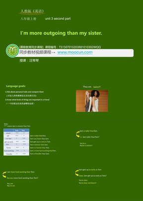 人教版英语八年级上Unit3_3.2second part_I'm more outgoing than my sister.ppt
