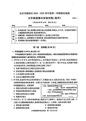 朝阳区2018-2019学年初三(上)学期期末道德与法治试卷.pdf