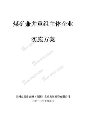 煤矿企业兼并重组整合主体企业实施方案2.doc