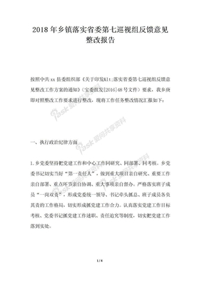 2018年乡镇落实省委第七巡视组反馈意见整改报告.docx