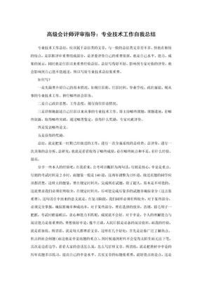 高级会计师评审指导:专业技术工作自我总结.doc
